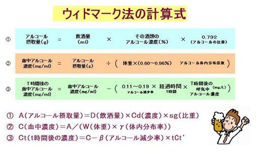 ウィドマーク法計算式