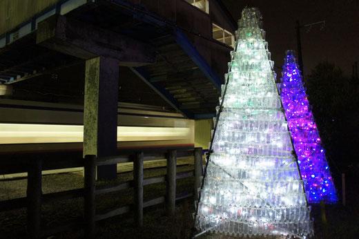 今年も、地元の子どもたちが創ったペットボトルのツリーが光り輝く。ちょうどそのとき、特急「しらゆき」が通過!