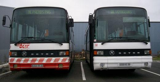 Le 51 et le 58; la différence de texture de l'habitacle du conducteur est bien visible. La photo est prise en 2007, alors que les engins perdent leur teinte d'origine rouge pour une livrée d'apprêt immaculée. ©popol