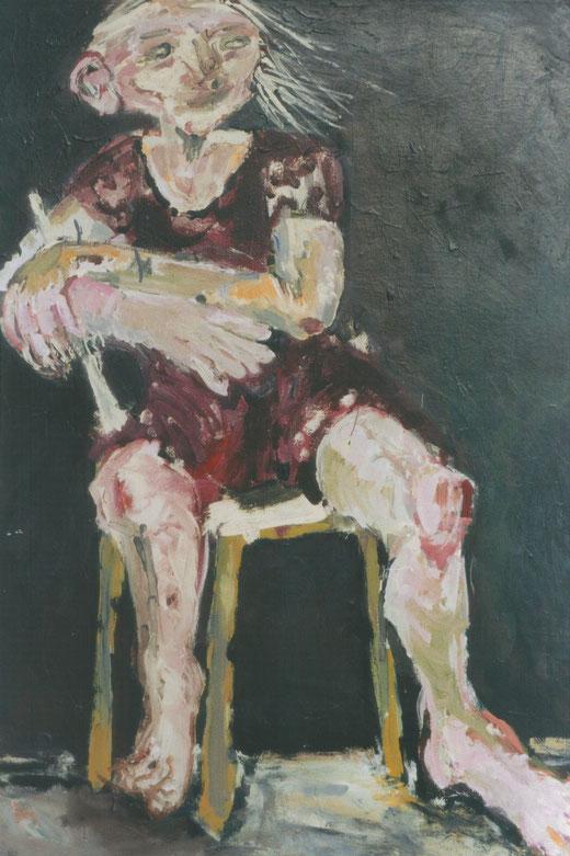 """Heldin (d'après """"Die grosse Nacht im Eimer"""" de G. Baselitz), 2001, acrylique sur carton, 120x80 cm, collection particulière"""