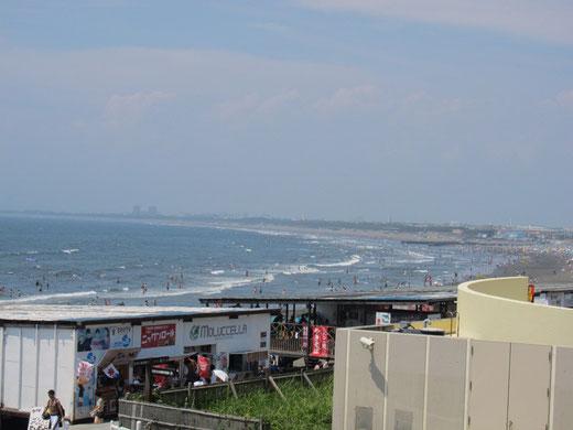 新江ノ島水族館から見える海岸の景色