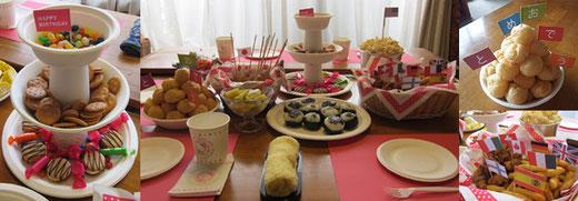 お誕生会のパーティー料理の演出