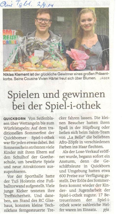 Quickborner Tageblatt 2.9.14