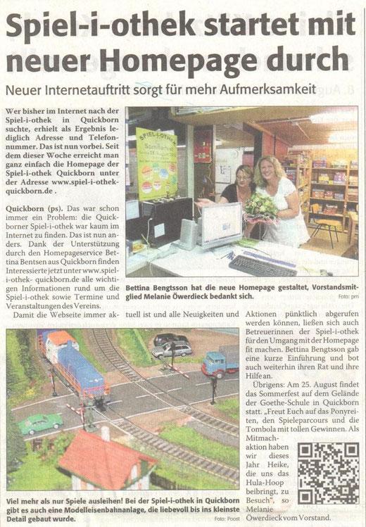 Sonntagsanzeiger vom 5.8.2012 zur neuen Internetseite