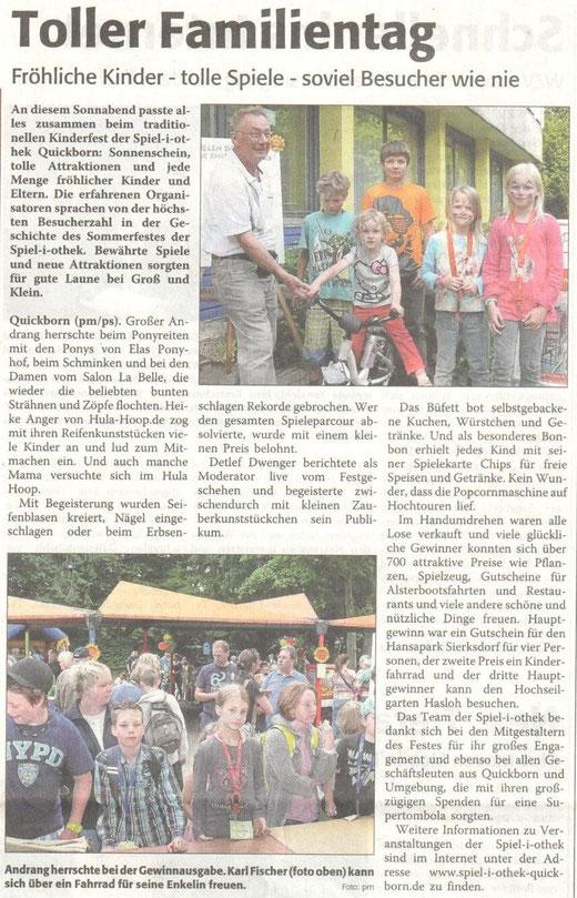 Sonntagsanzeiger vom 2.9.2012 zum Sommerfest 2012