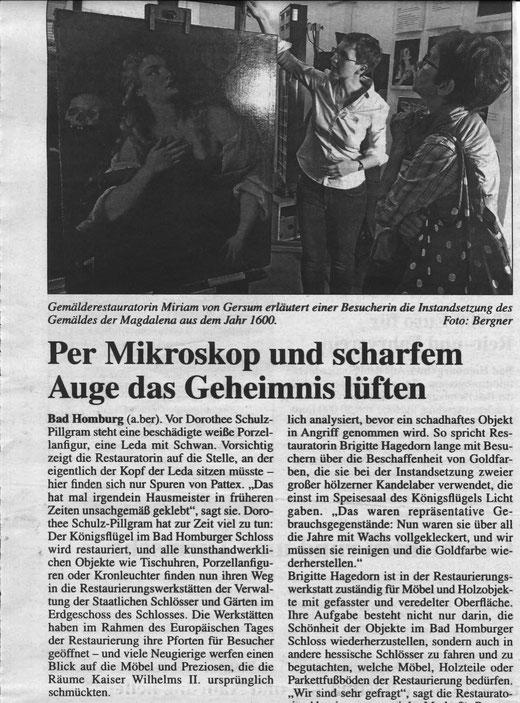 Zeitungsbericht über den Tag der Restaurierung in Bad Homburg 2019