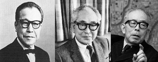 左:吉田五十八(1894〜1974) 中:山口文象(1902〜1978) 右:前川国男(1905〜1986)