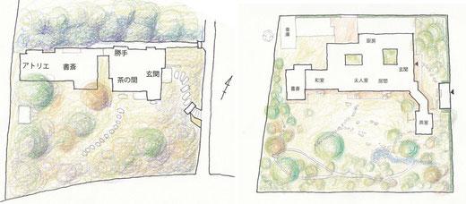 左:林芙美子邸 右:猪股邸配置図