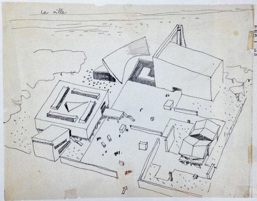 文化複合施設の全体計画スケッチ 計画:ル・コルビュジエ 1956年