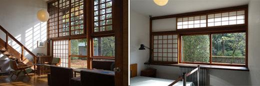 左:前川自邸居間 右:寝室