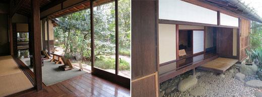 左:林芙美子邸茶の間の縁側 右:北側土庇