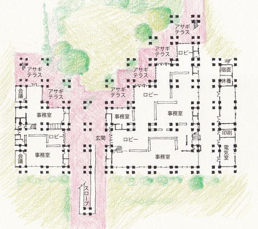 名護市庁舎1階平面図