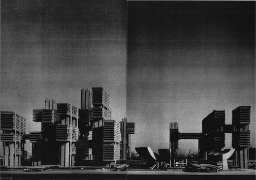 築地・電通第1次計画、『新建築』1967年4月号より