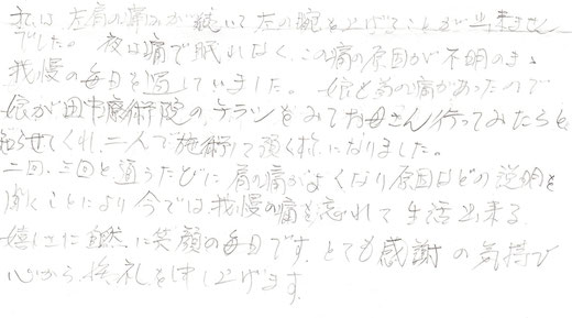 倉吉市、北栄町の整体田中療術院 肩の痛み、五十肩、四十肩、肩関節周囲炎