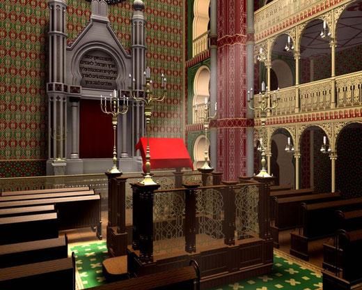 Synagoge Köln, Glockengasse, 1861 bis 9. November 1938, 3D CAD Rekonstruktion
