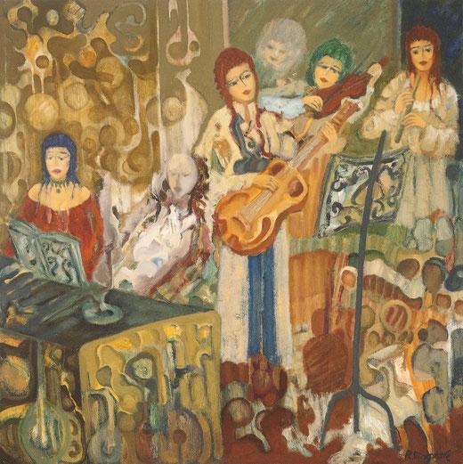 Algo más que un ensayo - 80 x 80 cm - óleo/Dmp - Guillermo R. Mingorance