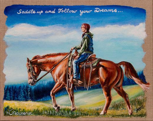 """""""Saddle Up"""", Acryl auf Leinwand, 50x40, 2015, Pferdemalerei von Hanna Stemke, www.hufspuren.com"""