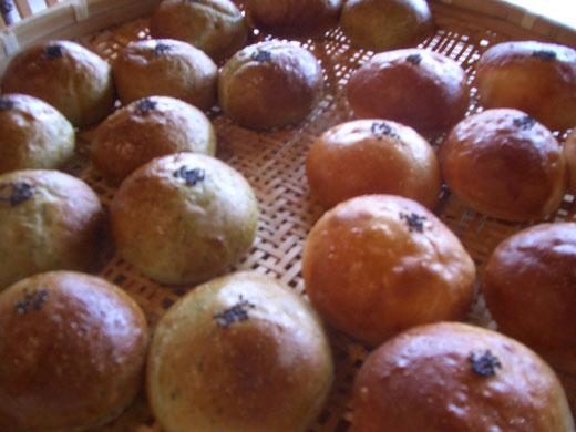 ▲天然ヨモギとオーガニック米粉を使ったヨモギあんぱん