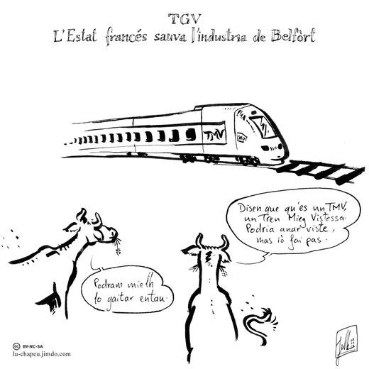 """TGV, L'Etat français sauve l'industrie de Belfort. """"Ils disent que c'est un TMV, un Train Moyenne Vitesse. Il pourrait aller vite, mais ne le fait pas."""" """"On pourra mieux le regarder comme ça"""""""