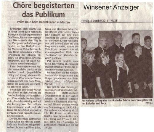 Bericht Herbstkonzert 2013 (WA vom 04.10.2013)