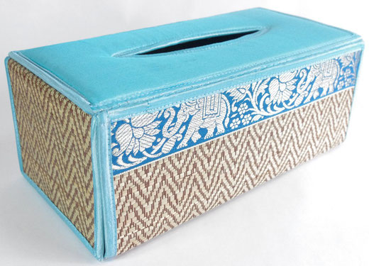 タイシルク(絹) ティッシュボックスケース ライトブルー 水色 商品写真01 [タイ雑貨 アジアン雑貨 インテリア タイ旅行おみやげ]