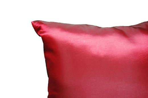 タイシルク クッションカバー  チェッカーデザイン ワインレッド 【Checker Design , Wine Red】 45×45cm 対応の商品写真07