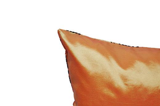 タイシルク クッションカバー  ロータス デザイン オレンジ 【Lotus Design , Orange】 45×45cm 対応 05