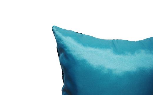 タイシルク クッションカバー  ロータス デザイン ライト ブルー 【Lotus Design , Light Blue】 45×45cm 対応 05
