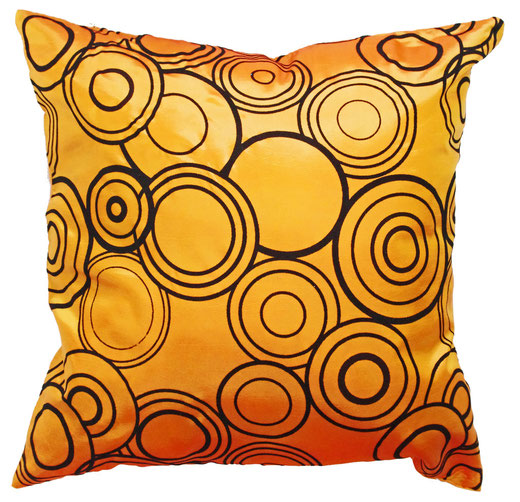 タイシルク クッションカバー  リングデザイン オレンジ 【Ring Design , Orange】 45×45cm 対応の商品写真01