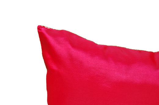タイシルク クッションカバー  ゴールドリング デザイン レッド 【Gold Ring Design , Red】 45×45cm 対応の商品画像07
