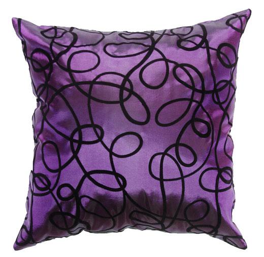 タイシルク クッションカバー  インフィニティ デザイン パープル 【Infinity Design , Purple】 の商品画像01
