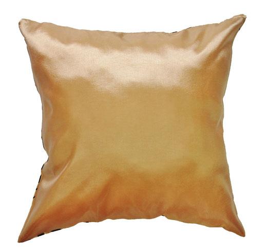 タイシルク クッションカバー  バンコク リーフ デザイン  ゴールド   【Bangkok Leaf Design , Gold】 45×45cm 対応 04