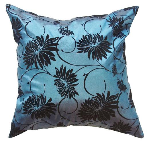 タイシルク クッションカバー  ロータス デザイン ターコイズ ブルー 【Lotus Design , Turquoise Blue】 45×45cm 対応 01