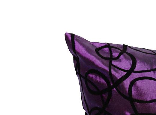 タイシルク クッションカバー  インフィニティ デザイン パープル 【Infinity Design , Purple】 の商品画像02