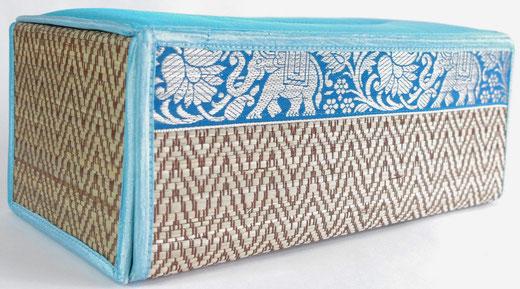 タイシルク(絹) ティッシュボックスケース ライトブルー 水色 商品写真02 [タイ雑貨 アジアン雑貨 インテリア タイ旅行おみやげ]