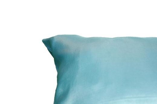 タイシルク クッションカバー  リーフ デザイン アクアブルー 【Leaf Design , Aqua Blue】 45×45cm 対応の商品写真07