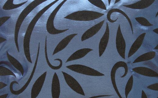 タイシルク クッションカバー  バンコク リーフ デザイン  ブルー   【Bangkok Leaf Design , Blue】 45×45cm 対応 02