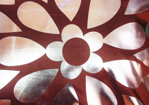 タイシルク クッションカバー  フラワー デザイン ブラウン 【Flower Design , Brown】 45×45cm 対応の商品画像02