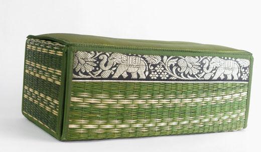 タイシルク(絹) ティッシュボックスケース ライトグリーン 緑色 商品写真02 [タイ雑貨 アジアン雑貨 インテリア タイ旅行おみやげ]