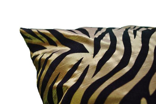 タイシルク クッションカバー  ゼブラ デザイン グリーン 【Zebra Design , Green】 45×45cm 対応の商品画像04