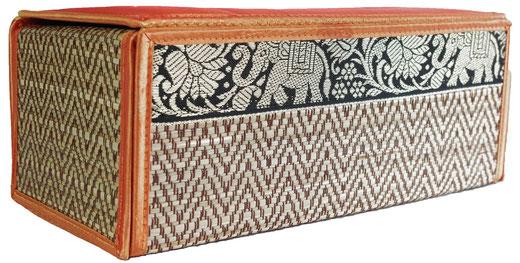 タイシルク アジアン ティッシュ ボックス ケース オレンジ 【Elephant design, Orange】の商品画像02