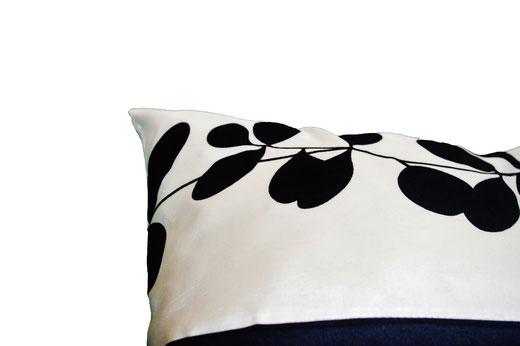 タイシルク クッションカバー  リーフ デザイン アイボリー 【Leaf Design , Ivory】 45×45cm 対応の商品写真13