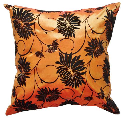 タイシルク クッションカバー  ロータス デザイン オレンジ 【Lotus Design , Orange】 45×45cm 対応 01