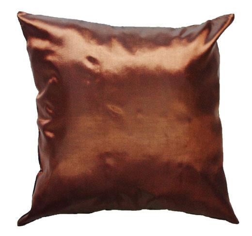 タイシルク クッションカバー  バンコク リーフ デザイン  ブラウン   【Bangkok Leaf Design , Brown】 45×45cm 対応 04