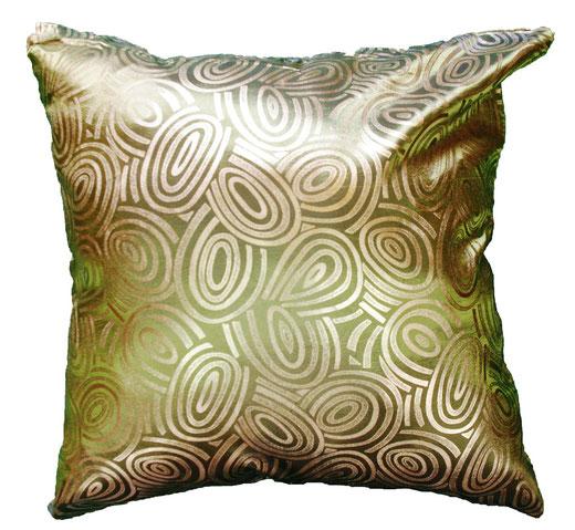 タイシルク クッションカバー  ゴールドリング デザイン グリーン 【Gold Ring Design , Green】 45×45cm 対応の商品画像01