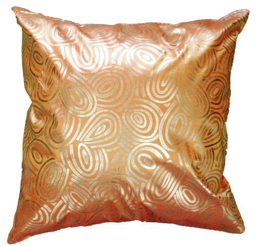 タイシルク クッションカバー  ゴールドリング デザイン オレンジ 【Gold Ring Design , Orange】 45×45cm 対応の商品画像01