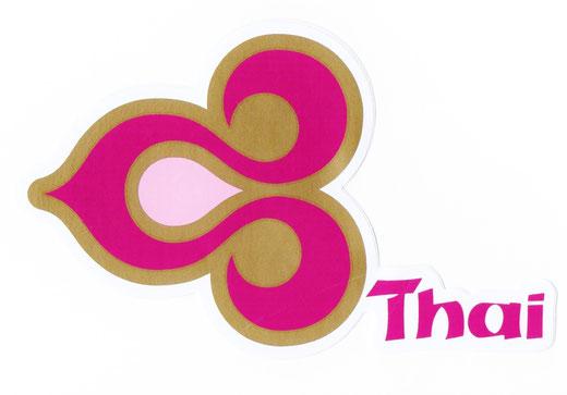 タイ航空 ステッカー(THAILAND AIR WAYS Sticker Magenta & Gold) left side type M サイズ (マゼンタ &ゴールド)  1枚 【Thailand Sticker】の商品画像01