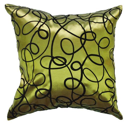 タイシルク クッションカバー  インフィニティ デザイン グリーン 【Infinity Design , Green】 の商品画像01