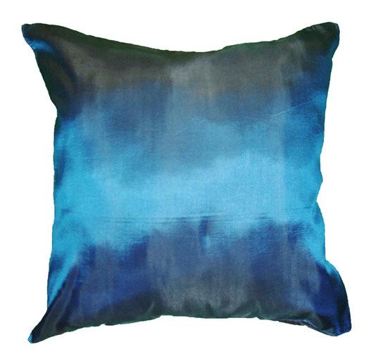 タイシルク クッションカバー  リーフ デザイン ターコイズブルー 【Leaf Design , Turquoise Blue】 45×45cm 対応の商品写真04