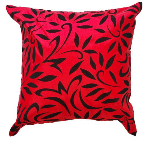 タイシルクッショクンカバー  バンコク リーフ デザイン  レッド   【Bangkok Leaf Design , Red】 45×45cm 対応 01